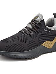 Недорогие -Муж. Комфортная обувь Синтетика / Tissage Volant Наступила зима Классика / На каждый день Кеды Дышащий Контрастных цветов Черный / Черный и золотой