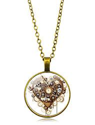 رخيصةأون -نسائي كلاسيكي قلائد الحلي / قلادة خمر - مطلي بالفضة, مطلية بالذهب قلب أنيق, عتيق, Steampunk ذهبي, أسود, فضي 50 cm قلادة مجوهرات 1PC من أجل هدية, مناسب للبس اليومي