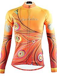 tanie -ILPALADINO Damskie Długi rękaw Koszulka rowerowa - Żółty Moda Rower Top Odporność na promieniowanie UV Sport Zima Elastyna Kolarstwo górskie Kolarstwie szosowym Odzież