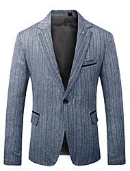 저렴한 -남성용 일상 가을 보통 블레이져, 솔리드 셔츠 카라 긴 소매 폴리에스테르 블랙 / 그레이 / 라이트 그레이 XXXL / XXXXL / XXXXXL