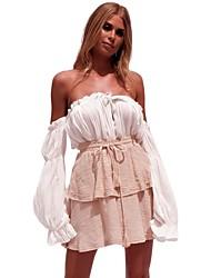 Недорогие -женская футболка с хлопком из хлопка - сплошной цвет с плеч