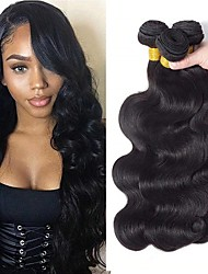cheap -3 Bundles Indian Hair Wavy Body Wave 8A Human Hair Unprocessed Human Hair Extension Bundle Hair One Pack Solution 8-28 inch Natural Color Human Hair Weaves Soft Best Quality Fashion Human Hair