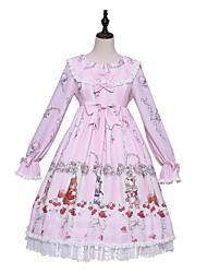 Недорогие -Sweet Lolita Прицесса Country Lolita Платья Мужской Японский Косплей костюмы Светло-розовый Рисунок Широкий, стянутый у запястья Длинный рукав До колена