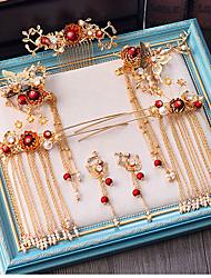 Недорогие -Жен. Красный Старинный Комплект ювелирных изделий Гипсофила Этнический Включают Шпильки для волос Золотой Назначение Свадьба Для вечеринок