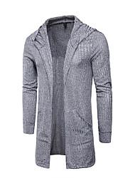 tanie -Męskie Codzienny Moda miejska Solidne kolory Długi rękaw Długie Sweter rozpinany Czarny / Szary / Khaki XL / XXL / XXXL