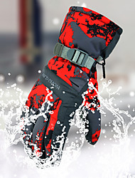 Недорогие -Зимние Лыжные перчатки Муж. Снежные виды спорта Полный палец Зима Водонепроницаемость С защитой от ветра Пригодно для носки полиэстер для печати Катание на лыжах Пешеходный туризм Катание на коньках