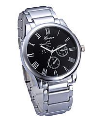 Недорогие -Муж. Нарядные часы Наручные часы Кварцевый Нержавеющая сталь Серебристый металл Секундомер Повседневные часы Cool Аналоговый Кольцеобразный Элегантный стиль - Белый Черный Синий / Один год