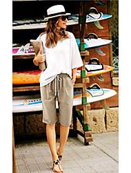 abordables -Femme Basique Grandes Tailles Coton Chino Pantalon - Couleur Pleine Cordon Taille basse Marine