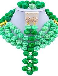 Недорогие -Жен. Многослойность Комплект ювелирных изделий - Мода Включают Струнные ожерелья Зеленый / Синий / Ярко-розовый Назначение фестиваль
