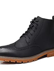 Недорогие -Муж. Комфортная обувь Микроволокно Весна & осень Английский Ботинки Ботинки Черный / Желтый / Хаки