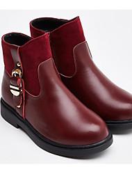 Недорогие -Девочки Обувь Кожа Наступила зима Модная обувь Ботинки Молнии для Дети Черный / Вино