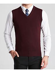 Недорогие -мужской плюс размер длинный рукав хлопок / шерстяной жилет - сплошной цвет