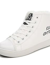 Недорогие -Жен. Сетка / Полиуретан Осень На каждый день Ботинки На плоской подошве Круглый носок Ботинки Белый / Черный