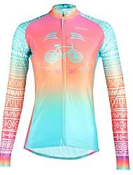 tanie -ILPALADINO Damskie Długi rękaw Koszulka rowerowa - Fuksja Moda Rower Top Odporność na promieniowanie UV Sport Zima Elastyna Kolarstwo górskie Kolarstwie szosowym Odzież