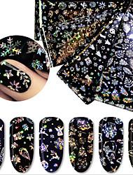 voordelige -4 pcs Folie sticker Kerstmanpakken / Kerstboom Nagel kunst Manicure pedicure Slim ontwerp Uniek ontwerp Festival