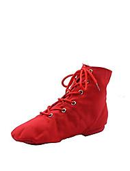 baratos -Mulheres Sapatos de Jazz Lona Botas / Meia Solas Sapatos de Dança Branco / Vermelho / Verde