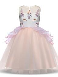 billiga -Prinsessa Vintage Kostym Flickor Klänningar Festklädsel Flapper Dress Purpur / Blå / Rosa Vintage Cosplay Polyester Ärmlös T-shirt