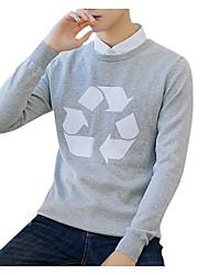 tanie -Męskie Codzienny Moda miejska Geometric Shape Długi rękaw Regularny Pulower Czarny / Szary / Królewski błękit XL / XXL / XXXL