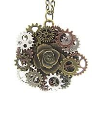 Недорогие -Жен. Старинный Ожерелья с подвесками Розы Шестерня Дамы Винтаж Steampunk Cool Античная бронза 65 cm Ожерелье Бижутерия 1шт Назначение Подарок Для улицы