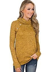 baratos -t-shirt de algodão para mulher - gola alta de cor sólida
