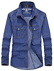 billige -Herre - Ensfarvet Denimstof Gade Skjorte