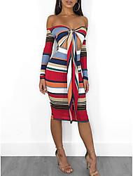 Недорогие -женское платье тонкое bodycon выше колена с плеча