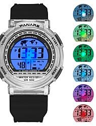 Недорогие -Муж. Спортивные часы электронные часы Японский Цифровой силиконовый Черный / Небесно-голубой 30 m Защита от влаги Календарь Хронометр Цифровой Мода - Черный Синий / Фосфоресцирующий