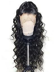 Недорогие -Не подвергавшиеся окрашиванию Необработанные натуральные волосы Лента спереди Парик стиль Перуанские волосы Свободные волны Loose Curl Парик 130% 250% Плотность волос / Природные волосы
