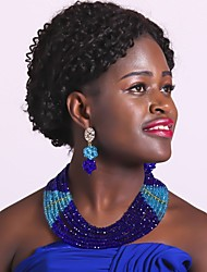 Недорогие -Жен. Многослойность Комплект ювелирных изделий - Мода Включают Струнные ожерелья Красный / Зеленый / Ярко-розовый Назначение Повседневные