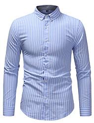 Недорогие -Муж. Офис Большие размеры - Рубашка Хлопок Деловые Полоски / Длинный рукав / Осень