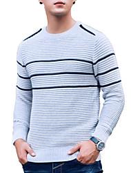 tanie -Męskie Codzienny Moda miejska Prążki Długi rękaw Regularny Pulower, Okrągły dekolt Czarny / Beżowy / Jasnoszary XL / XXL / XXXL