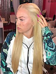 Χαμηλού Κόστους -Συνθετικές μπροστινές περούκες δαντέλας Ίσιο Ξανθό Μέσο μέρος Ξανθό Συνθετικά μαλλιά 22-26 inch Γυναικεία Ανθεκτικό στη Ζέστη / Γυναικεία / Στη μέση Ξανθό Περούκα Μακρύ Δαντέλα Μπροστά / Χωρίς κόλλα