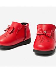 Недорогие -Девочки Обувь Синтетика Зима Удобная обувь Кеды Бант / Молнии для Дети Черный / Красный