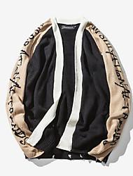 tanie -Męskie Codzienny Solidne kolory Długi rękaw Regularny Sweter rozpinany Biały / Khaki L / XL / XXL
