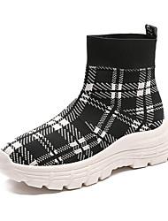 Недорогие -Жен. Сетка Осень На каждый день Ботинки На плоской подошве Круглый носок Сапоги до середины икры Черный / Красный
