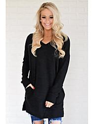 baratos -t-shirt de algodão para mulher - decote redondo de cor sólida
