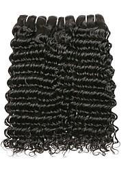 Недорогие -3 Связки Перуанские волосы Волнистые 10A человеческие волосы Remy Натуральные волосы Головные уборы Уход за волосами Пучок волос 8-28 дюймовый Черный Естественный цвет Ткет человеческих волос