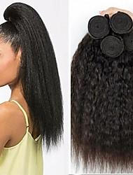 Недорогие -3 Связки Бразильские волосы Вытянутые Натуральные волосы Необработанные натуральные волосы Человека ткет Волосы Уход за волосами Удлинитель 8-28 дюймовый Естественный цвет Ткет человеческих волос