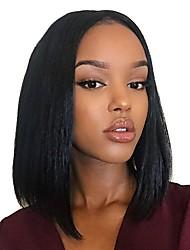 Недорогие -человеческие волосы Remy Бесклеевая сплошная кружевная основа Полностью ленточные Парик Свободная часть Kardashian стиль Бразильские волосы Прямой Яки Парик 130% Плотность волос / Природные волосы