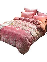 Недорогие -Пододеяльник наборы Цветочный принт / Геометрический принт / Современный стиль Коралловый Рельефные 1 шт.Bedding Sets / >800