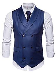 저렴한 -남성용 일상 사업 플러스 사이즈 보통 조끼, 솔리드 셔츠 카라 긴 소매 폴리에스테르 블랙 / 그레이 / 와인 XXL / XXXL / XXXXL
