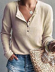 Недорогие -Жен. Повседневные Классический Однотонный Длинный рукав Обычный Пуловер, Круглый вырез Серый / Лиловый / Желтый L / XL / XXL