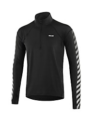 abordables -Arsuxeo Homme Ziper avant Tee-shirt de Course - Noir Des sports Mode Tee-shirt Yoga, Course / Running, Fitness Manches Longues Tenues de Sport Séchage rapide, Doux, Bandes Réfléchissantes Elastique