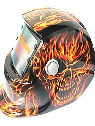 Недорогие -солнечный авто потемнение сварочный шлем 107 большой рот огонь череп