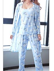 Недорогие -Жен. Круглый вырез Костюм Пижамы Цветочный принт