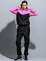 Недорогие -Жен. Вырез-хомут Пэчворк Спортивный костюм - Черный, Пурпурный, Зеленый Виды спорта Контрастных цветов Брюки / Спортивный костюм / Верхняя часть Бег, Фитнес, Разрабатывать Длинный рукав / Эластичная