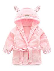Недорогие -Дети Дети (1-4 лет) Девочки Активный Классический Повседневные Однотонный Шнуровка Длинный рукав Длинный Обычная Пижамы Розовый
