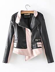 baratos -casaco de couro magro do plutônio das mulheres - colo da bandeja do peter do bloco da cor