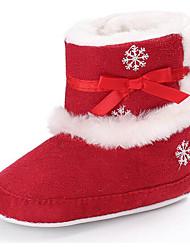 Недорогие -Девочки Обувь Искусственный мех / Синтетика Зима Обувь для малышей / Меховая подкладка Ботинки Бант для Дети Лиловый / Пурпурный / Красный