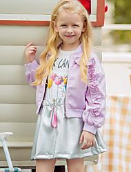 tanie -Dzieci Dla dziewczynek Podstawowy Solidne kolory Długi rękaw Regularny Poliester Kurtka / płaszcz Fioletowy